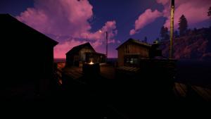 Рыбацкая деревня ночью в Rust