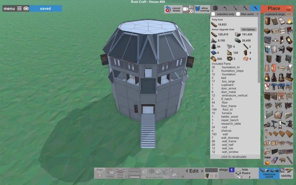 Затраты на постройку здания в арморе Rust