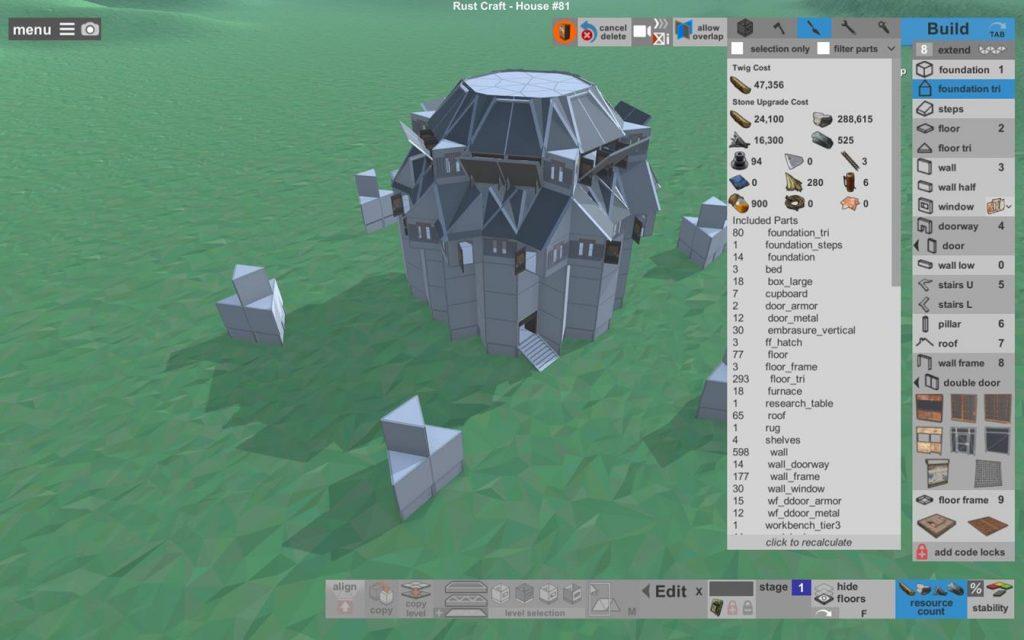 Затраты на постройку здания в камне Rust