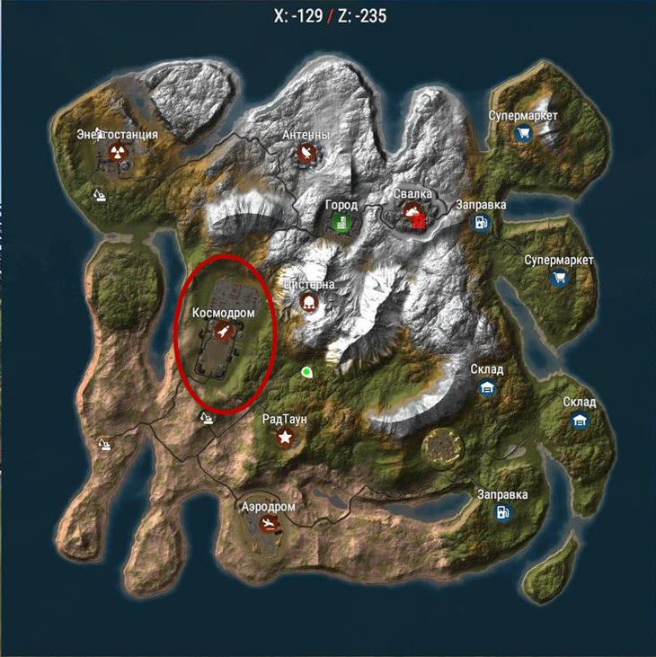 Космодром на карте