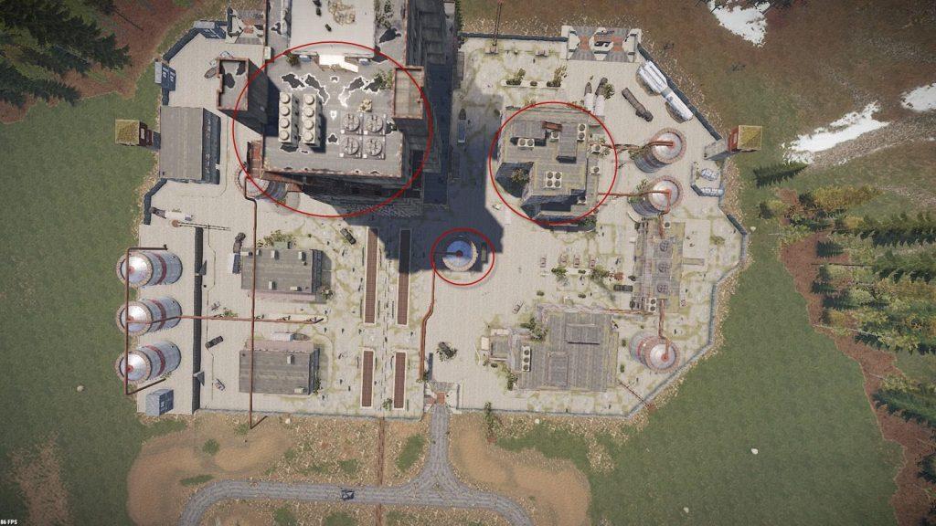 Космодром сверху - места для стрельбы по танку