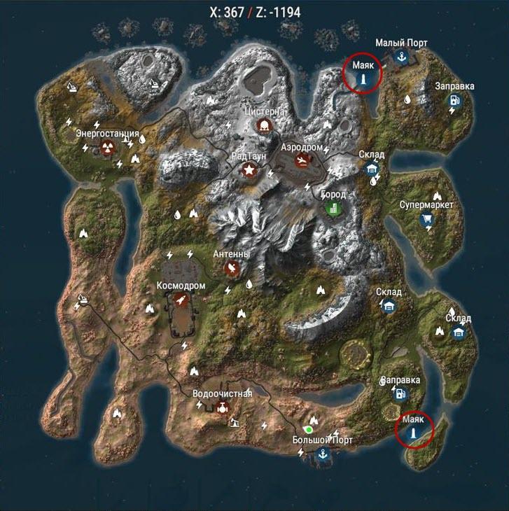 Отображение маяков в Rust на модифицированной карте
