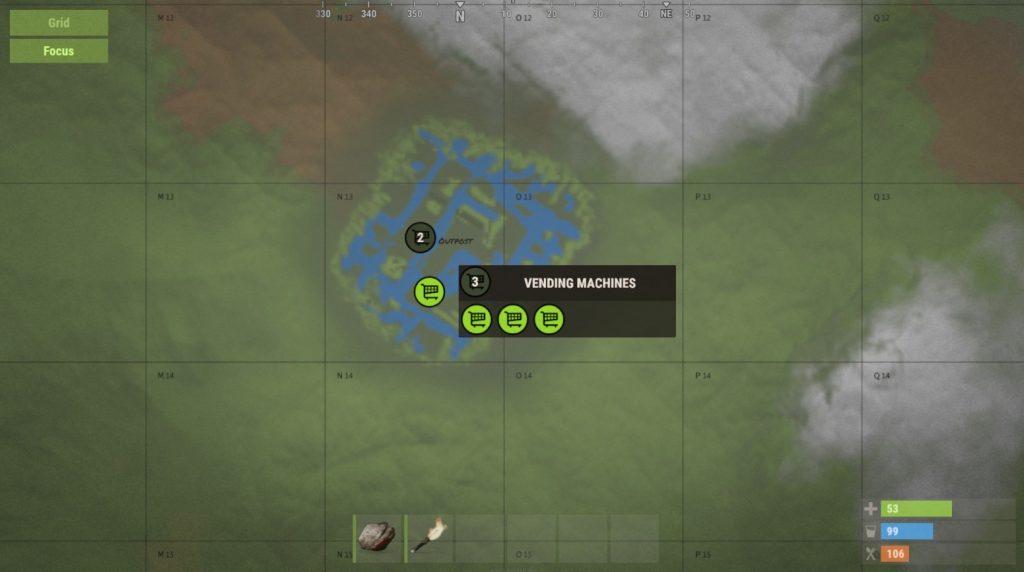 Изменённое отображение торговых автоматов на карте в Rust