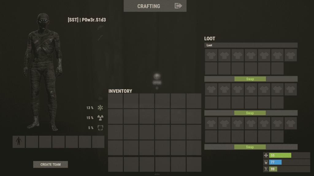 Интерфейс оружейного шкафчика в Rust