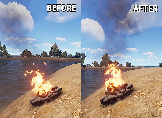 Изменение отображения огня костра в Rust