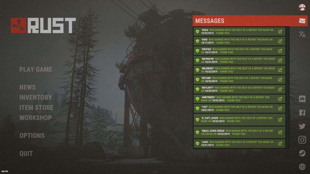 Оповещение о наказании игроков, присылаемые разработчиками Rust