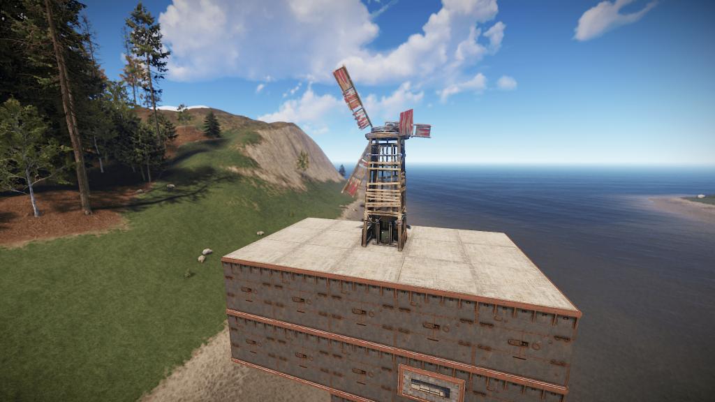 Ветрогенератор, установленный на крыше ангара в Rust
