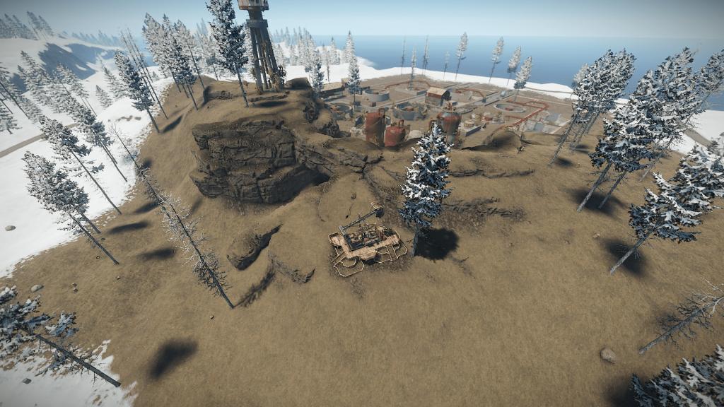 Нефтекачка у водоочистной станции в игре Rust