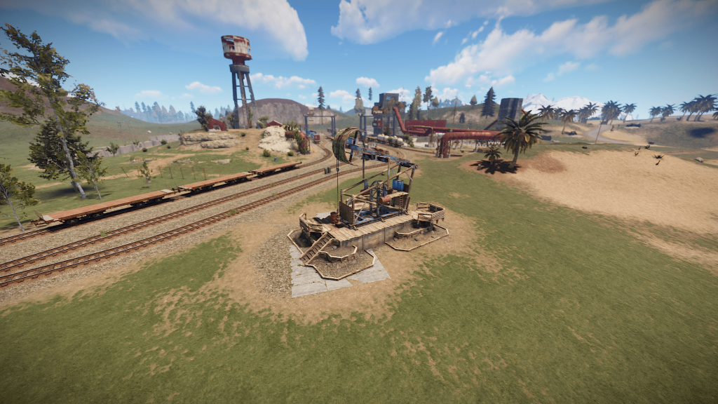 Нефтекачка у депо в игре Rust