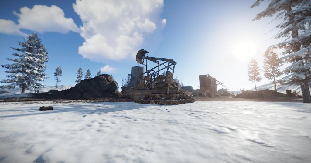 Нефтекачка у энергостанции в игре Rust