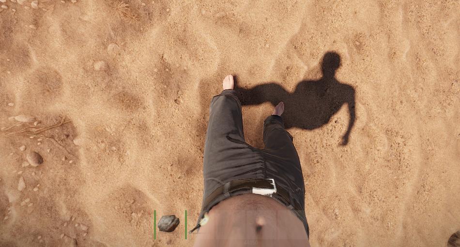 Ноги при наклоне камеры вниз в игре Rust