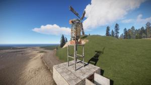 Ветрогенератор на крыше здания в Rust