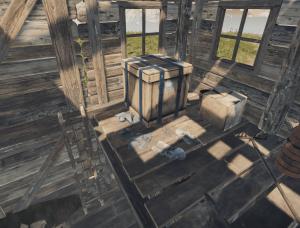 Второй простой ящик в двухэтажном заброшенном домике в Rust