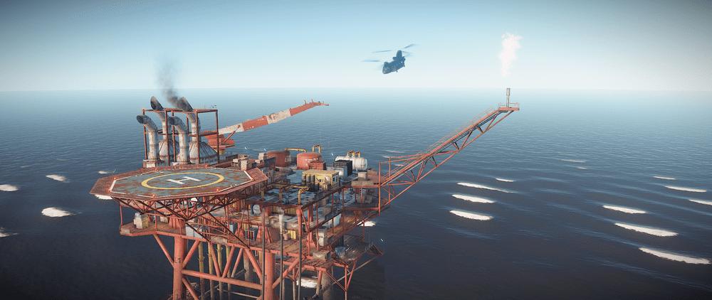 Грузовой вертолёт, доставляющий тяжёлых учёных на нефтяную вышку в Rust