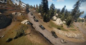 Конвой, покидающий военную базу в Rust