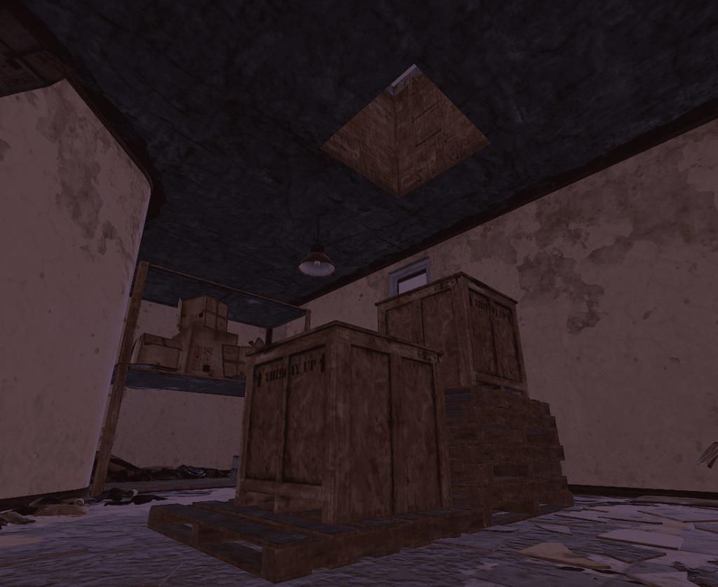 Лестница на крышу заправки в складском помещении в Rust
