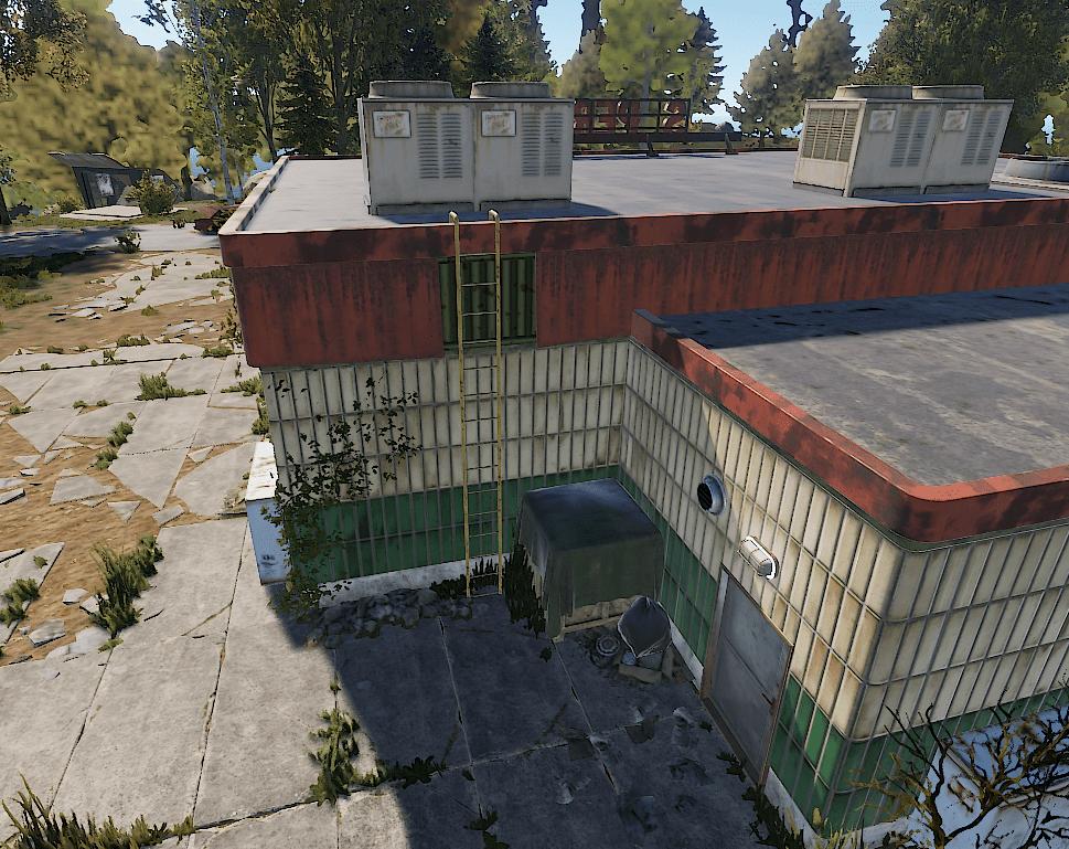 Лестница на крышу супермаркета в Rust