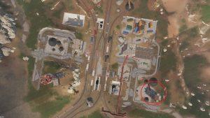 Месторасположение первого рычага на карте Депо в Rust