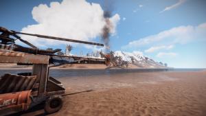 Первая степень повреждения транспортного вертолёта в Rust
