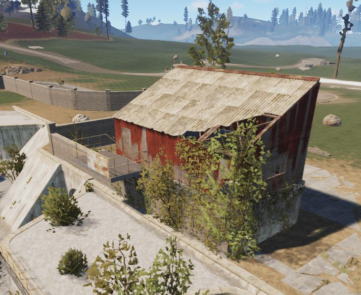 Первое здание на окраине водоочистной станции в Rust