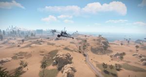Полёт на миникоптере со стороны в Rust