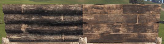 Правильная и неправильная деревянная полустенка в Rust