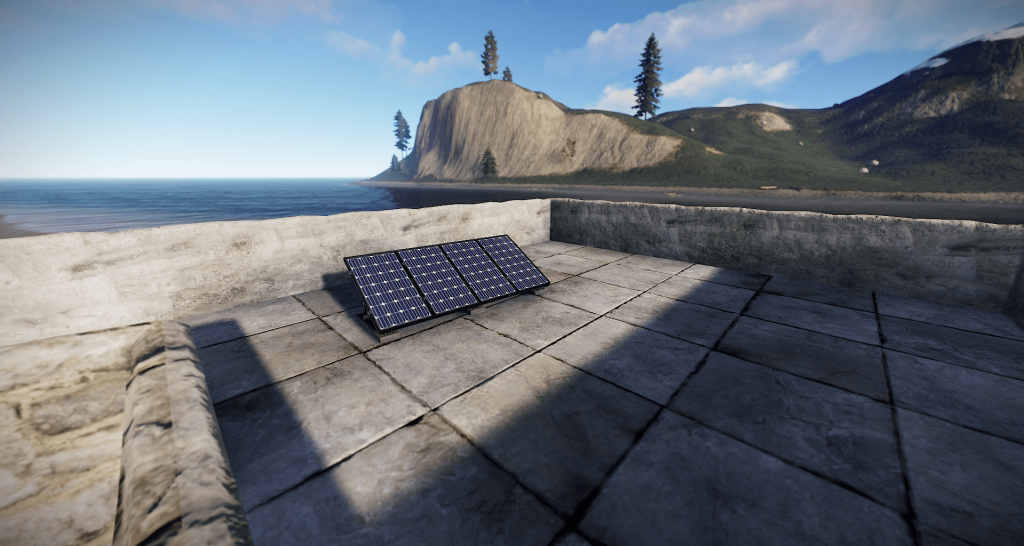 Солнечная панель, установленная на крыше в Rust