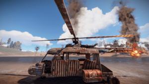 Третья степень повреждения транспортного вертолёта в Rust