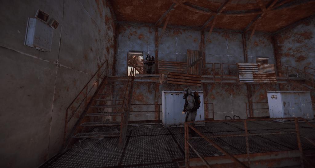 Учёные, охраняющие экскаватор в Rust