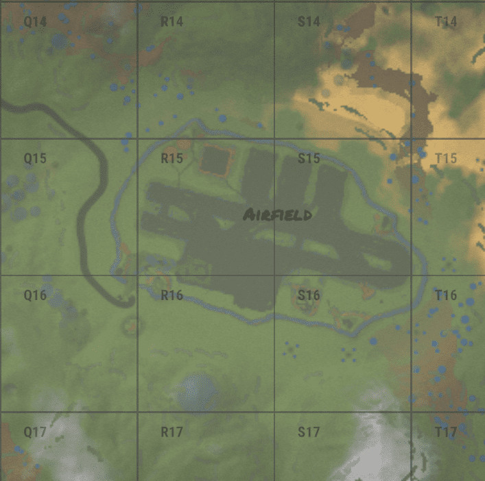 Airfield на внутриигровой карте в Rust