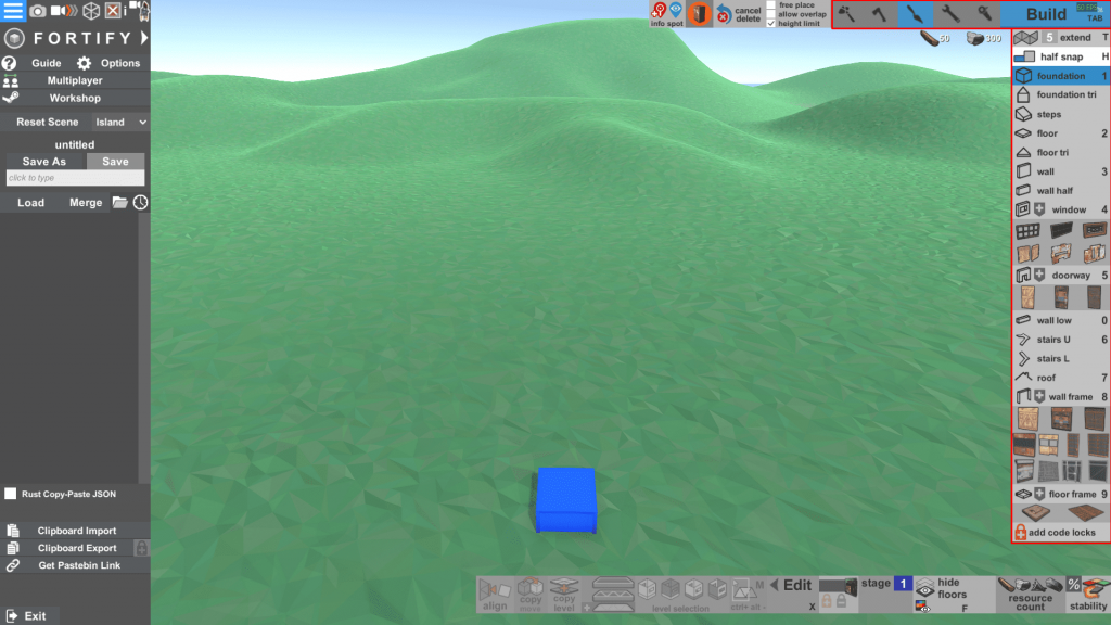 Панель с блоками и ресурсами для строительства в программе Fortify