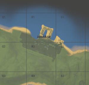 Harbor Small на внутриигровой карте в Rust