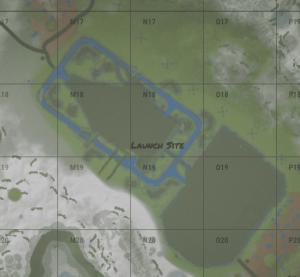 Launch site на внутриигровой карте в Rust