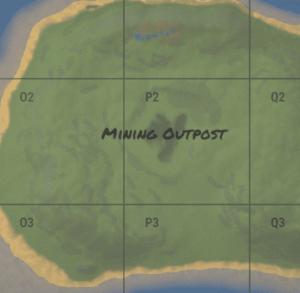 Mining Outpost на внутриигровой карте в Rust