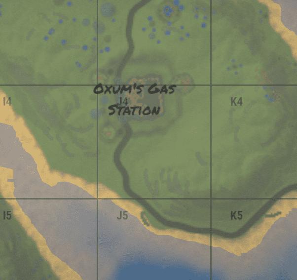 Oxum's gas station на внутриигровой карте в Rust