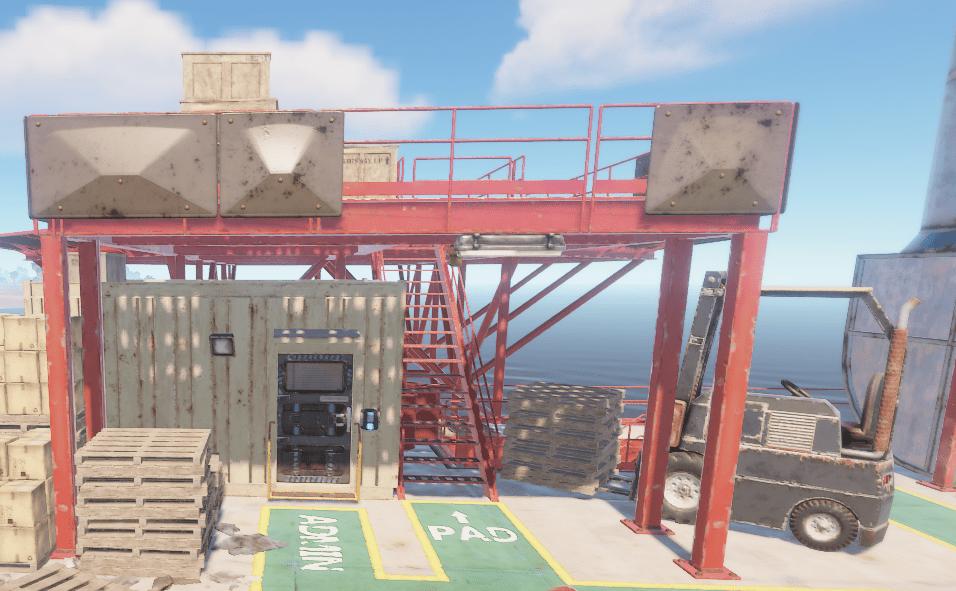 Заблокированная комната под вертолётной площадкой на нефтяной вышке в Rust