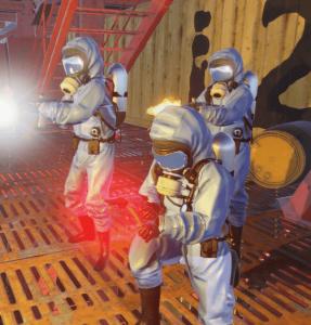 Учёные на нефтяной вышке в Rust