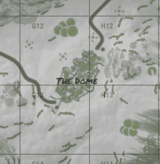 The dome на внутриигровой карте в Rust