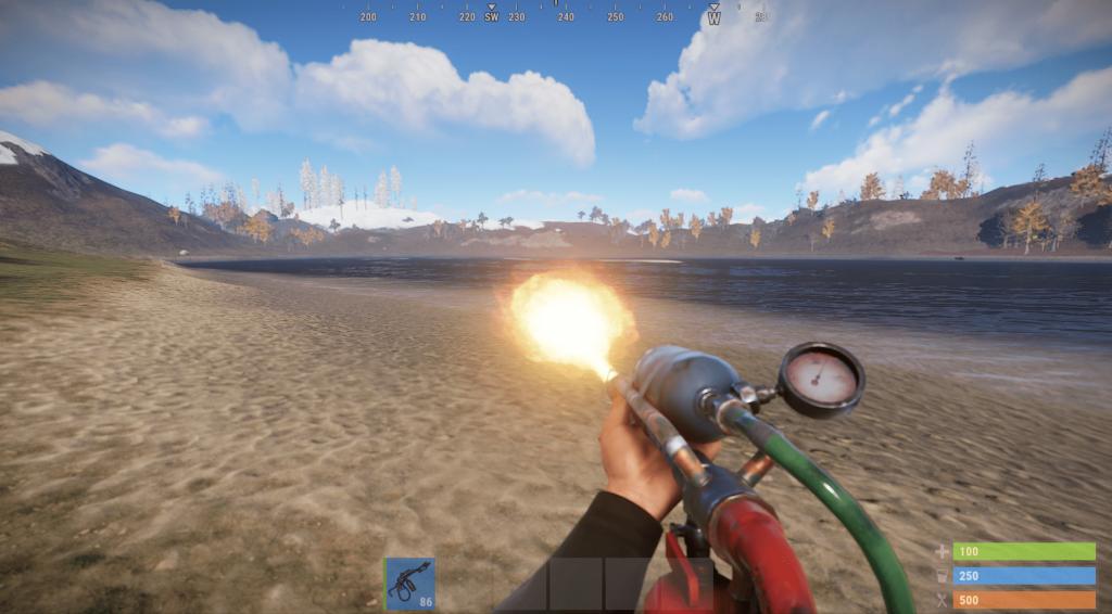 Стрельба из огнемёта в Rust
