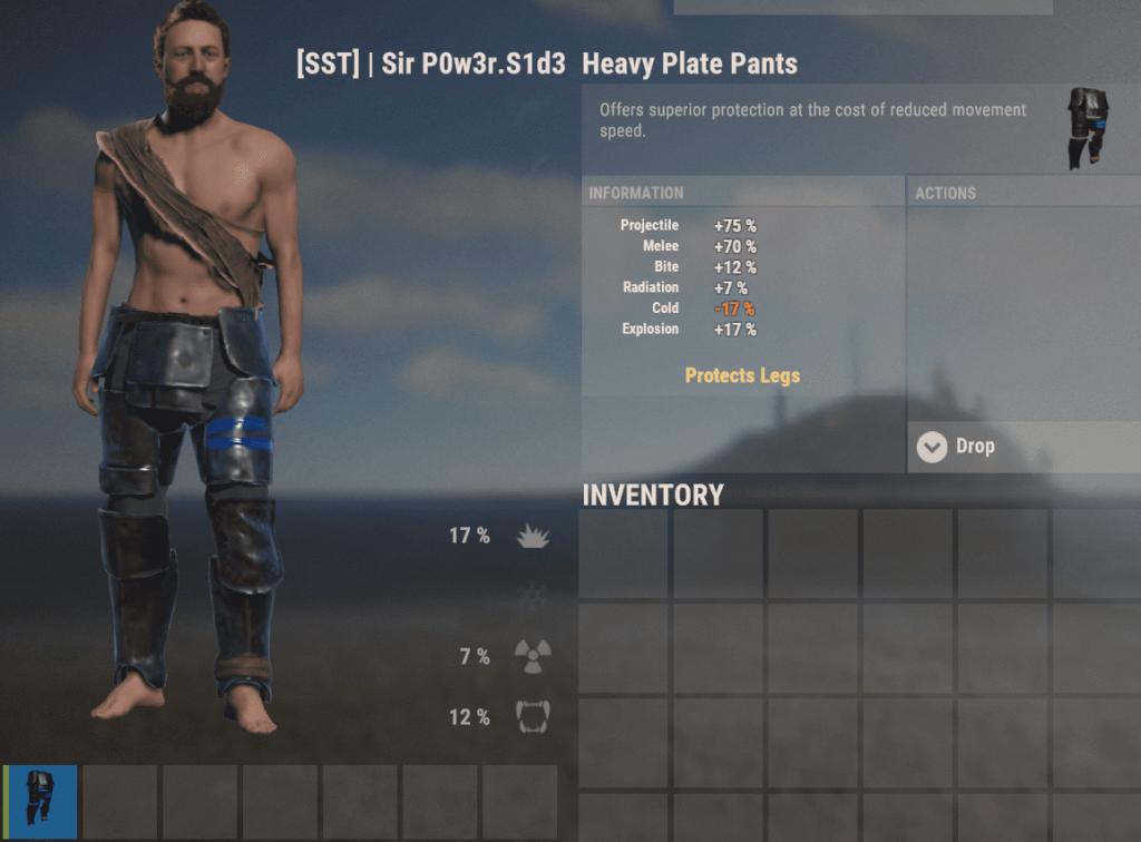 Тяжёлые пуленепробиваемые поножи в Rust