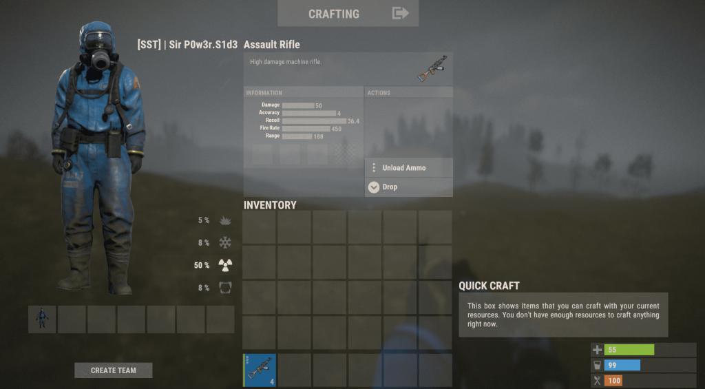 Штурмовая винтовка в инвентаре в Rust