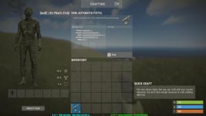 Полуавтоматический пистолет в инвентаре в Rust