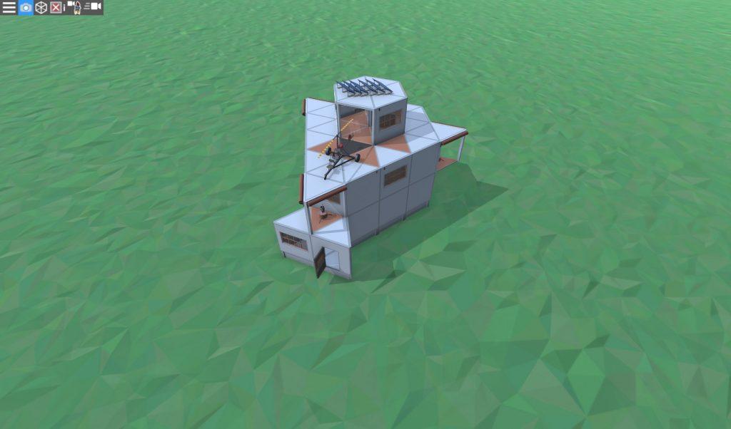 Дом соло игрока с коптерной площадкой в Rust