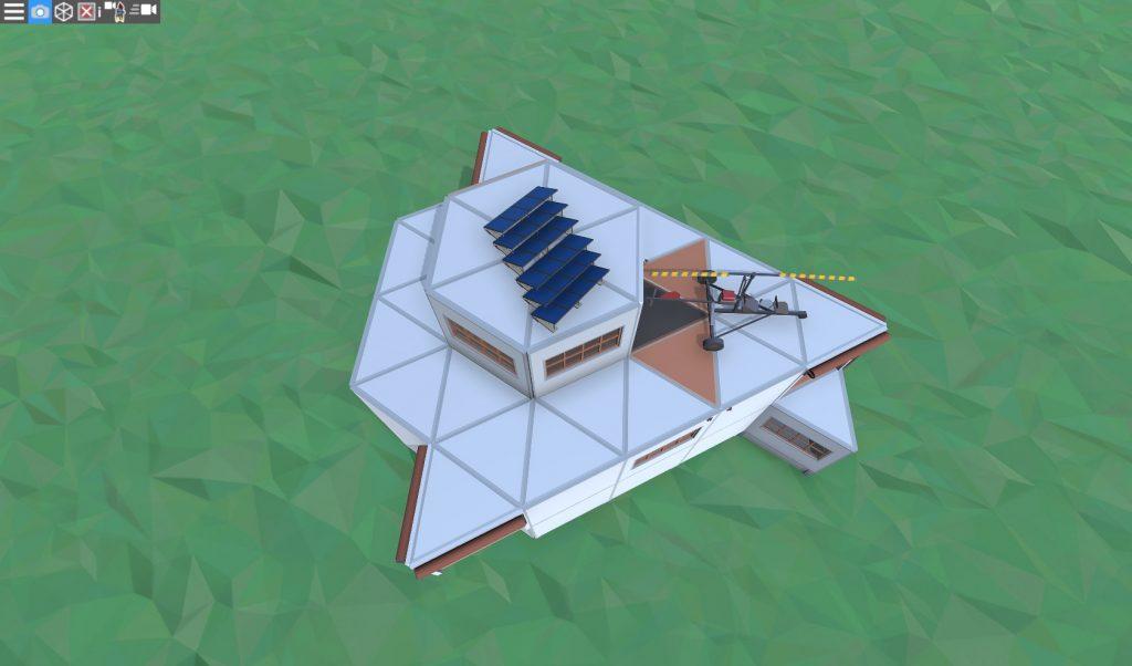 Крыша дома соло игрока с коптерной площадкой в Rust