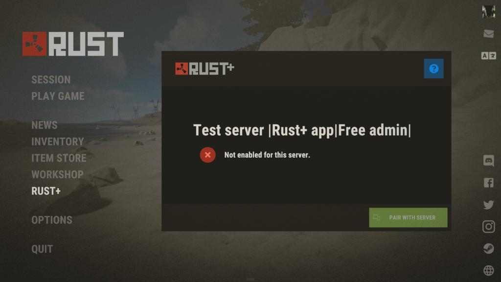 Меню подключения сервера к Rust+