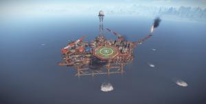 Большая нефтяная вышка днём в Rust