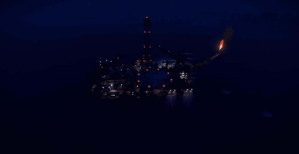Большая нефтяная вышка ночью в Rust